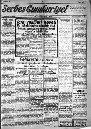 Serbes Cumhuriyet Gazetesi 28 Ekim 1930 kapağı