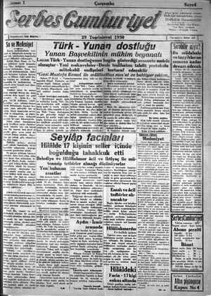 Serbes Cumhuriyet Gazetesi 29 Ekim 1930 kapağı