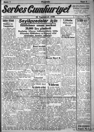Serbes Cumhuriyet Gazetesi 30 Ekim 1930 kapağı