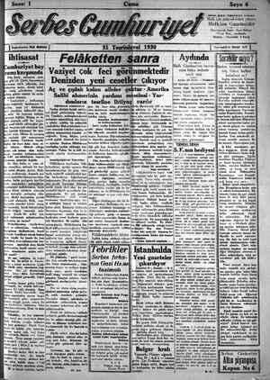 Serbes Cumhuriyet Gazetesi 31 Ekim 1930 kapağı