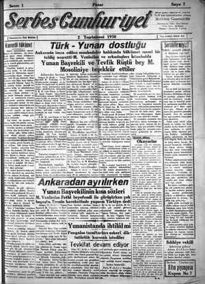 Serbes Cumhuriyet Gazetesi 2 Kasım 1930 kapağı