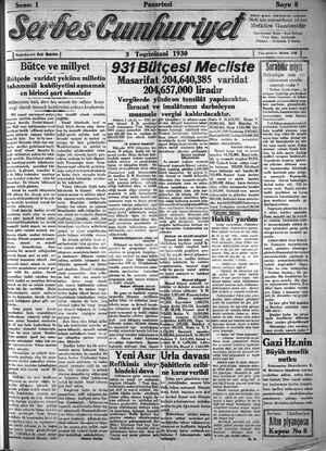 Serbes Cumhuriyet Gazetesi 3 Kasım 1930 kapağı