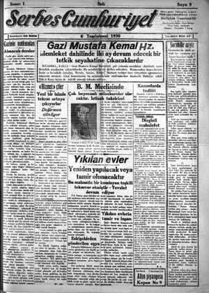 Serbes Cumhuriyet Gazetesi 4 Kasım 1930 kapağı