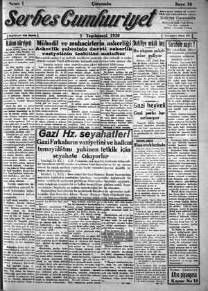 Serbes Cumhuriyet Gazetesi 5 Kasım 1930 kapağı