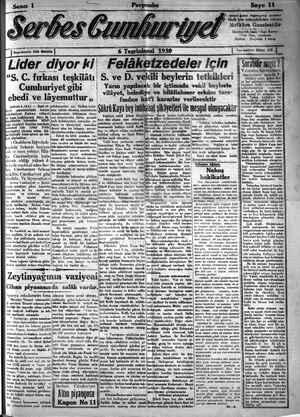 Serbes Cumhuriyet Gazetesi 6 Kasım 1930 kapağı