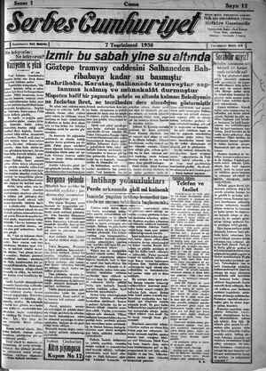 Serbes Cumhuriyet Gazetesi 7 Kasım 1930 kapağı