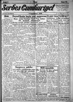 Serbes Cumhuriyet Gazetesi 9 Kasım 1930 kapağı