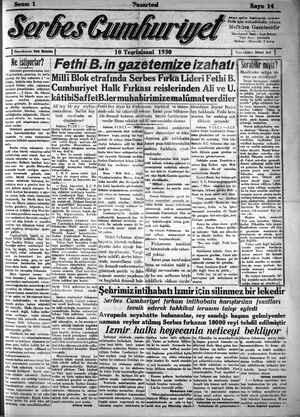 Serbes Cumhuriyet Gazetesi 10 Kasım 1930 kapağı