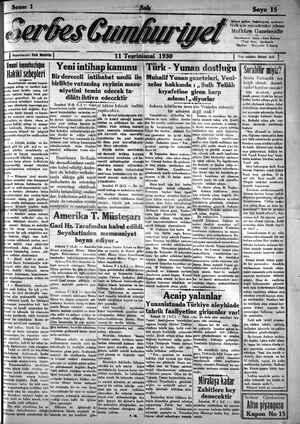 Serbes Cumhuriyet Gazetesi 11 Kasım 1930 kapağı