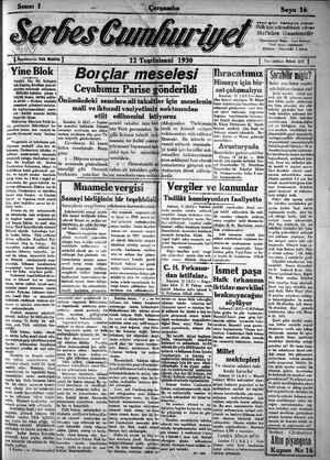 Serbes Cumhuriyet Gazetesi 12 Kasım 1930 kapağı