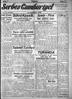 Serbes Cumhuriyet Gazetesi 13 Kasım 1930 kapağı