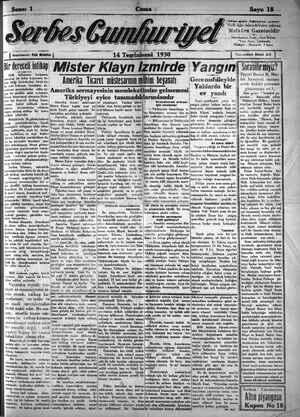Serbes Cumhuriyet Gazetesi 14 Kasım 1930 kapağı