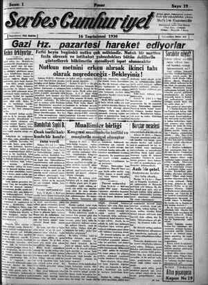 Serbes Cumhuriyet Gazetesi 16 Kasım 1930 kapağı