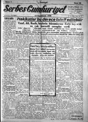 Serbes Cumhuriyet Gazetesi 17 Kasım 1930 kapağı