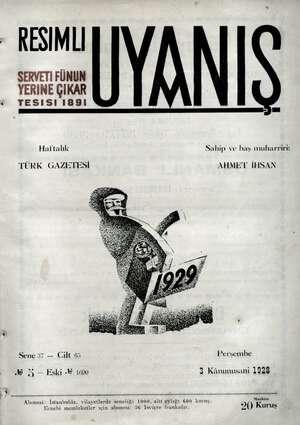 Servetifunun (Uyanış) Dergisi 3 Ocak 1929 kapağı
