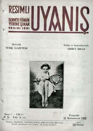 Servetifunun (Uyanış) Dergisi 31 Ocak 1929 kapağı