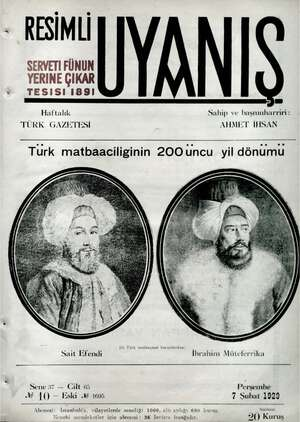 Servetifunun (Uyanış) Dergisi 7 Şubat 1929 kapağı
