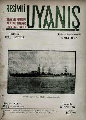Servetifunun (Uyanış) Dergisi 21 Şubat 1929 kapağı