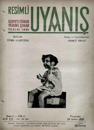 Servetifunun (Uyanış) Dergisi 28 Şubat 1929 kapağı