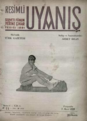 Servetifunun (Uyanış) Dergisi 7 Mart 1929 kapağı