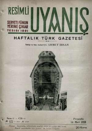 Servetifunun (Uyanış) Dergisi 14 Mart 1929 kapağı