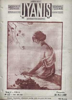 Servetifunun (Uyanış) Dergisi 28 Mart 1929 kapağı