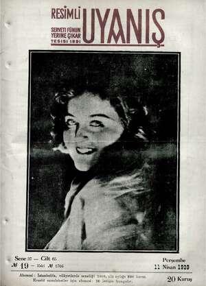 Servetifunun (Uyanış) Dergisi 11 Nisan 1929 kapağı