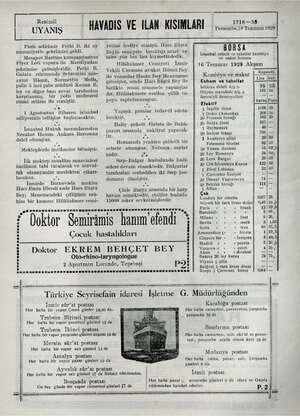 Resimli UYANIŞ HAVADIS VE İLAN KISIMLARI   1718—38 Persembe,18 Temmuz 1929 Paris sefirimiz Fethi B. iki ay mezuniyetle...