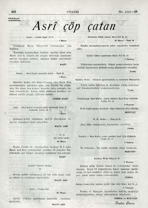 """UYANIŞ No. 1723—38 Asri çöp çatan 622 Hikâye: amana İzmit — Güzide Raşit H. F. 1 Mayıs """" Ferihanın Münir Müeyyetle..."""