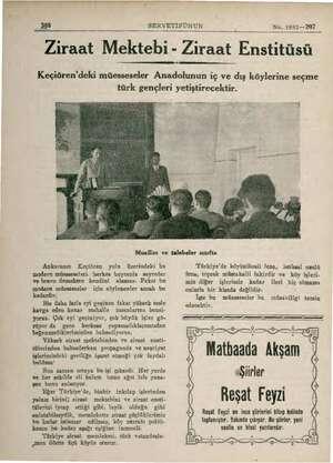""""""" 388. SERVETİFÜNUN No. 1892— 207 Ziraat Mektebi - Ziraat Enstitüsü Keçiören'deki müesseseler Anadolunun iç ve dış..."""