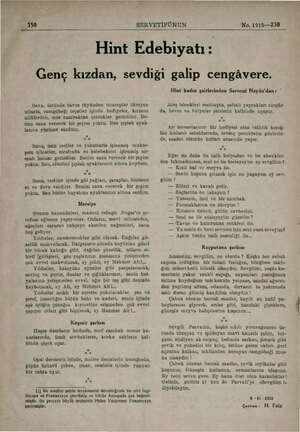 , 350 SERVETİFÜNUN | | No. 1915—230 Hint Edebiyatı : Genç kızdan, sevdiği galip cengâvere. Sana, üstünde tavus tüyünden...