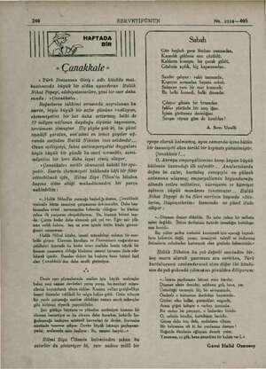 A Li , ŞE a « Çanakkale » < Türk Destanına Giriş » adlı kitabile mat. buatımızda büyük bir alâka uyandıran Halük Nihat...