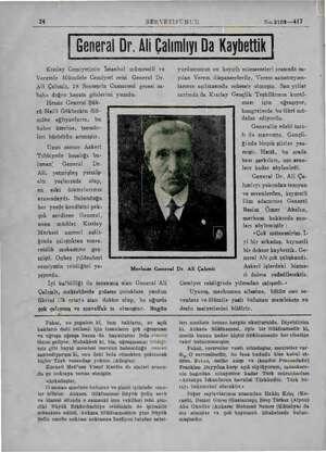 24 SERVETİFÜNUN No.2109—417 | General Dr. Ali Çalımlıyı Da Kaybettik Kızılay Cemiyetinin İstanbul mümessili ve Veremle...