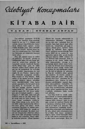 lebiyai KOKNLOMAR KİTABA DAİR   YAZAN:   B ÜRE AN 4 EN FA D Yeni edebiyat gazetesinin 15-12-40 tarihli 5. inci sayısında...