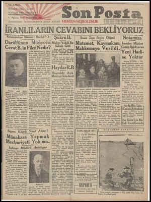 Son Posta Gazetesi 1 Ağustos 1930 kapağı
