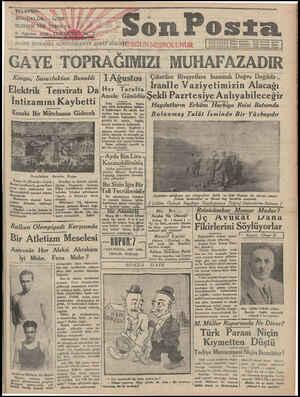 Son Posta Gazetesi 2 Ağustos 1930 kapağı