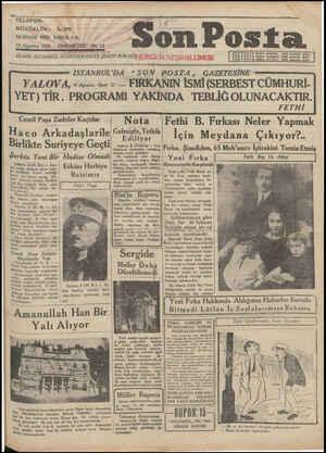 Son Posta Gazetesi 10 Ağustos 1930 kapağı