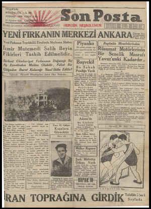 Son Posta Gazetesi 13 Ağustos 1930 kapağı