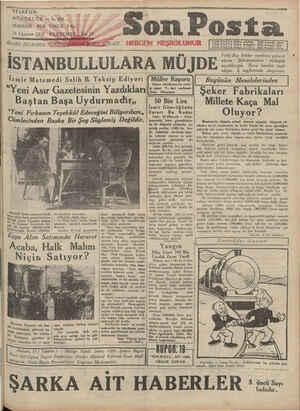 Son Posta Gazetesi 14 Ağustos 1930 kapağı
