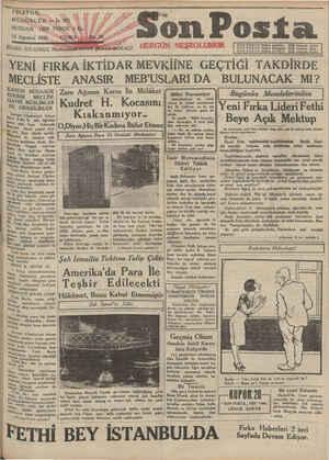 Son Posta Gazetesi 15 Ağustos 1930 kapağı