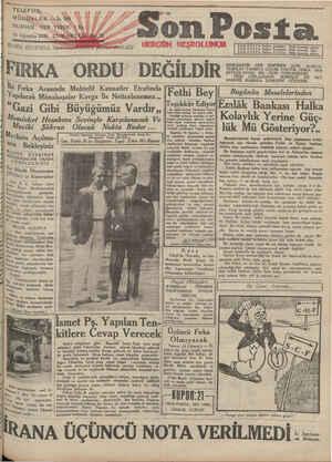 Son Posta Gazetesi 16 Ağustos 1930 kapağı
