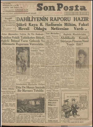 TELEFON: MÜDÜRLÜK — S A CA NLN   j Di   D   NUSHASİ HER YERDE sKrı 3 Kânunusani 1931 CUMARTÜİ No.160 ğ /DARE: İSTANBUL...