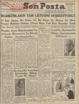 ELEFON: MÜDÜRLÜK — I:. 203 UNUSHASI HER YERDE 5 Kı. 2 Şubat 19315 PAZARTESİ DA/DARE;: İSTANBUL NURUOSMANİYE ŞEREF-SOKAĞI —