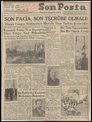 TELEFON: MÜDÜRLÜK — 20203 NÜSHASI HER YERDE 5Kr. 7 Ağustos 1931 — CUMA No. İDARE ; İSTANBUL NURUOSMANİYE'ŞEREF SOKAĞI HERGÜN