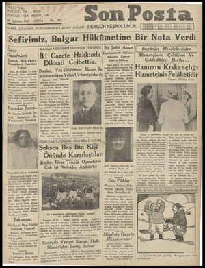 ÜDÜRLOK - 20203 NÜSHASI HER YERDE 5Kr. 28 Ağustos 1931 'DARE /STANBUL NURUOSMANİYE ŞEREF SOKAĞI HERGÜN NEŞROLUNUR CUMA No.