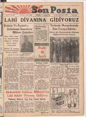 | nev- | inda | HAT BI GÖZÜ HALKINSKÜUYAĞI HEK İN İLİ, Son Posta Sene 2 — No: 4580 Yan işleri telefonu: İstanbul — 20203...