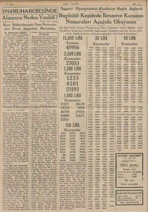 10 Sayfa SON POSTA —— 9 14MUHAREBESİNDE Almanya Neden Yenildi? Nakleden: X4 —A Yazan: Emil Ludvig Marn Muharebesinin Fena