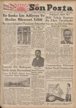 BALKIN GÖZÜO HALKIN'KULAĞI HALKIN>DİLİ Eene 2 — No: 673 son Posta Yamı işleri telefonu: İstanbul — — CUMA — 10 Haziran 1932