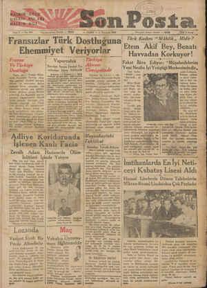 """h R """"""""Adliye Koridorun HALKIN GÖZÜ HALENEIKULAĞI BALKINSDİLİ ae Sene 2 — No: 694 Fransızlar Türk Dostluğuna Ehemmiyet..."""