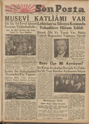 """(PALKIN""""GOZÜ HALKINAKULAĞI HALKAIN DİLi Son Posta Z Sene 3 —_Noı 950 yöm içleri telefenu: İstanbul — 20203 — CUMA — 17 Mart"""